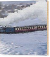 Winter Steam Train Wood Print