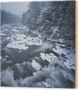 Winter View Of The Ausable River Wood Print