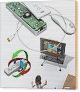 Wireless Home Video Game System Wood Print by Jose Antonio PeÑas