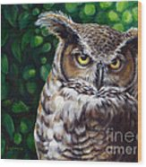 Wisdom Great Horned Owl Wood Print