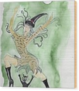 Witches Dance With Cats On Halloween Wood Print