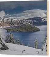 Wizard Island After Summer Snowfall Wood Print