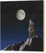 Wolf Howling At Moon Wood Print