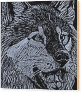 Wolfie Wood Print by Jim Ross