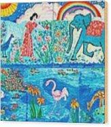 Woman And Blue Elephant Beside The Lake Wood Print