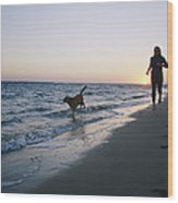 Woman And Dog Running On Beach, Nags Wood Print