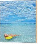 Woman And Ocean Wood Print