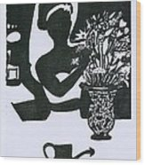 Woman Arranging Flowers 1 Wood Print