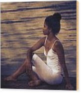 Woman At A Lake Wood Print by Joana Kruse