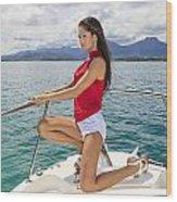 Woman At Kaneohe Bay Wood Print