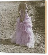 Woman At The Beach Wood Print