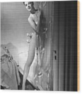 Woman Behind Shower Curtain Wood Print