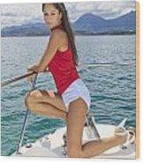 Woman Boating At Kaneohe Wood Print