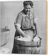 Woman Doing Laundry In Wooden Tub Wood Print