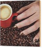 Woman Hand Holding A Cup Of Latte Wood Print