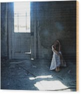 Woman Hiding In Abandoned Room Wood Print