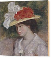 Woman In A Flowered Hat Wood Print