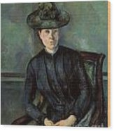 Woman In A Green Hat Wood Print