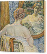 Woman In A Mirror Wood Print