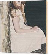 Woman In An Alley Wood Print by Joana Kruse