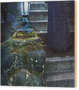 Woman In Dark Gown On Old Staircase Wood Print