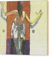 Woman In Gown French Doors Wood Print