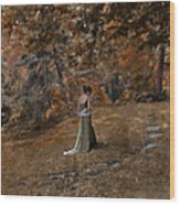Woman In Green Gown  Wood Print