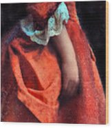 Woman In Red 18th Century Gown Wood Print