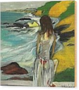 Woman In Sheer Dress By Sea 3d Wood Print