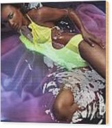 Woman In Swimsuit Lying In Water Wood Print