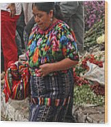 Woman In Traditional Guatemalan Dress Wood Print