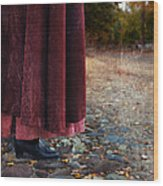Woman In Vintage Clothing On Cobbled Street Wood Print