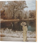 Woman In Vintage Dress With Parason By Lake Wood Print