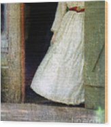 Woman In Vintage Victorian Era Dress In Doorway Wood Print
