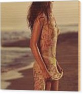Woman In Wet Dress At The Beach Wood Print