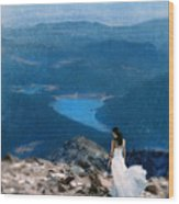 Woman In White Gown On Mountain Top Wood Print