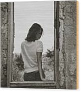 Woman In Window Wood Print