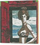 Woman In Window With Red Shutters Wood Print