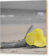 Woman In Yellow Hat Wood Print