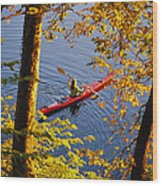 Woman Kayaking With Fall Foliage Wood Print
