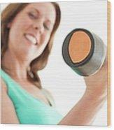 Woman Lifting Weights Wood Print by Ian Hooton