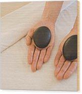 Woman Massage Therapist Hands Holding Wood Print