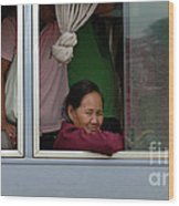 Woman On Bus Laos Wood Print