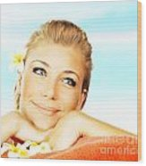 Woman On Spa Massage Bed On The Beach Wood Print