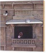 Woman On The Balcony Wood Print