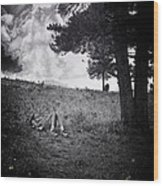 Woman On The Hill Wood Print