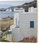 Woman On The Terrace - Mykonos Wood Print