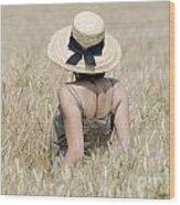 Woman On The Wheat Field Wood Print