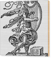 Woman Playing The Harp Wood Print