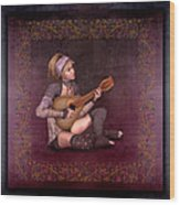 Woman Playing The Lyre Wood Print